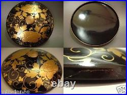 1899 and 1912 Japanese Antique Lacquer Ivy Makie Tea Stand and Tea Cup (906-11)