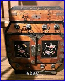 1920s Japanese Lacquer Chest Drawers Tansu Jewellery Box Wooden Marquetry