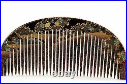 1930's Japanese Makie Lacquer Mother of Pearl Raden Carving Hair Comb Kushi