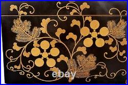 1930's Japanese Makie Lacquer Wood Carved Carving Box Mon Crest & Flowers