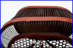 1930's Japanese Red Lacquer Bamboo Weave Basket Insect Cricket Cage Box