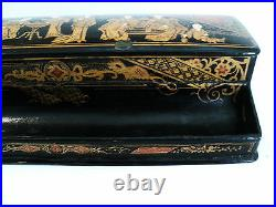 19th C JAPANESE CHINOISIERE BLACK LACQUER & GILT PAPIER MACHE COVERED INK STAND