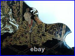19th C. JAPANESE CHINOISIERE DECORATED BLACK LACQUER LETTER HOLDER with GEISHA
