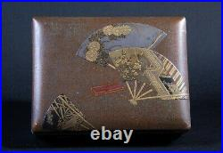 19th Century Meiji Japanese Lacquer Covered Box with Fan Design & Silver Edges