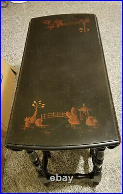 ANTIQUE LACQUERED JAPANNED CHINOISERIE DROP LEAF WILLIAM and MARY STYLE TABLE