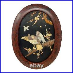 Antique 1890s Meiji Period Japanese Eagle Shibayama Lacquered Wall Plaque-read d