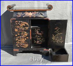 Antique 19thC Meiji Japanese Lacquered Hand Painted Cabinet with key