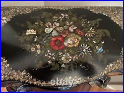 Antique Black Lacquered Tea Caddy/Chest Abalone/ Mother Of Pearl Intricate Work