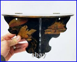 Antique Chinoiserie Japanese Lacquer Hanging Shelf Hand Painted