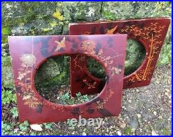 Antique Edwardian Pair Of Red Lacquer Japanned Photo Picture Frames