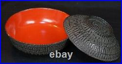 Antique Iremono Japanese woven bamboo lacquered craft 1800s lacquer craft