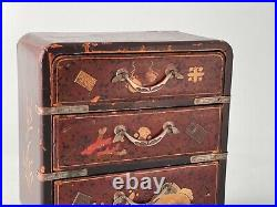 Antique Japan mini Tansu Chest of Drawers jewelry Box Lacquered Wood Meiji 19thC