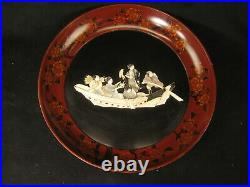 Antique Japanese 1910 Wood & Lacquer Mother Of Pearl Serving Bowl Samurai Geisha