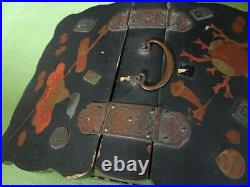 Antique Japanese Black Lacquer Sewing Box Haribako Early 20th century Brass