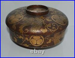 Antique Japanese Brown Lacquer Gold Makie Mon Covered Bowl Meiji