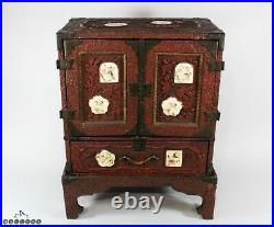 Antique Japanese Cinnabar Lacquer & Satsuma Table Cabinet on Stand
