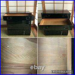 Antique Japanese Furniture Wood Cabinet Isho Tansu withkey Black lacquered #0605