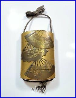 Antique Japanese Gold Maki Inro Lacquer Medicine Layer Box Mother of Pearl Inlay
