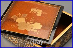 Antique Japanese Lacquer Chrysanthemum Makie Stacking Boxes Jubako with Stand