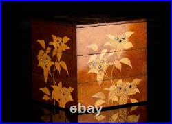 Antique Japanese Lacquer Hydrangea Makie Stacking Boxes Jubako