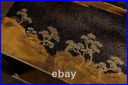 Antique Japanese Lacquer Maki-e Two-tiered Table Meiji Period