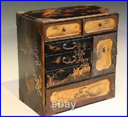 Antique Japanese Lacquer Makie Box Jewelry Compartment Old Chest Edo/Meiji