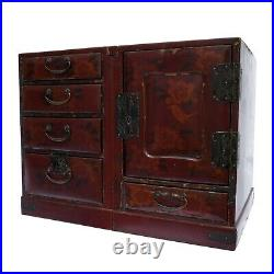 Antique Japanese Lacquered Jewellery Cabinet with Floral Decoration. Early 20th c