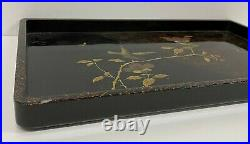 Antique Japanese Lacquered Rectangular Serving Tray Decorative Birds oriental