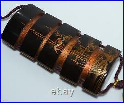 Antique Japanese Meiji Gold Makie Black Lacquer 5-Case Inro Bird Signed