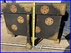 Antique Japanese Meiji Period Gilt & Lacquered Karabitsu Trunk with Lotus Leafs