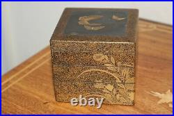 Antique Japanese Meiji Small Lacquered Incense Box