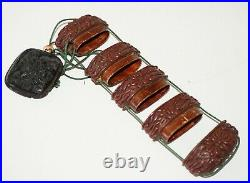 Antique Japanese Relief Floral Carved Red Lacquer Inro w. Belt Ornament (JeK)
