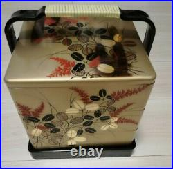 Antique Japanese Traditional BENTO box JUBAKO gold lacquer three steps withhandle
