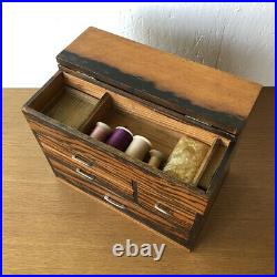 Antique Japanese Wooden Lacquer Sewing Box Chest Tansu Drawers Black persimmon