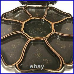 Antique Large Japanese Sweetmeat Lacquered Dish Covered Box With Compartments