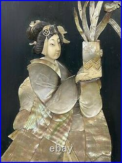Antique Pair Japanese Lacquered Mother of pearl Shibayama Wall Hanging Panels