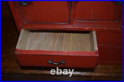 Antique Red Lacquer Japanese Asian Tea Cabinet Tansu Storage Chest Box 24x19x13