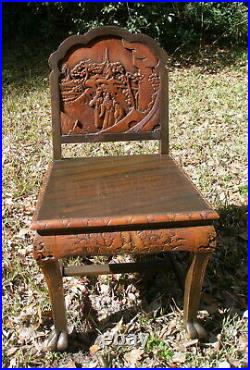 Asian Japanese Panel Side Chair, export lacquer, hand-carved scene + bats