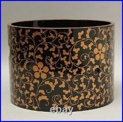 Beautiful Japanese Makie Lacquered tube shape pot cover DD22
