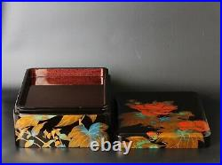 Beautiful Japanese Makie lacquered box 20th C by Nitten lacquer artist PP86