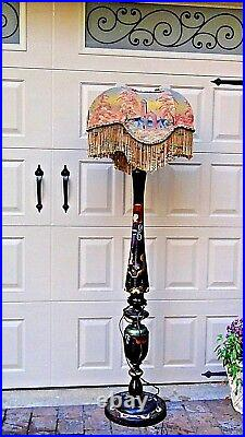 EARLY 20c JAPANESE BLACK LACQUERED CARVED PAINTED SILK FRINGE SHADE FLOOR LAMP#1