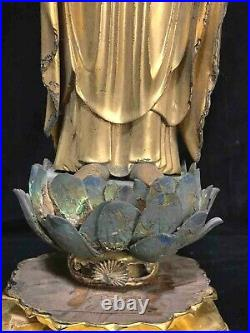 Fine classic Japanese wood gilt lacquer standing Buddha with lotus base 19th c