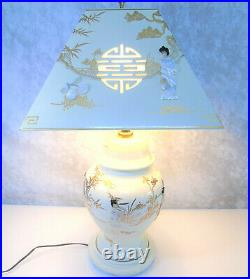 GEISHA TABLE LAMP & LAMPSHADE Mother Of Pearl Japanese Porcelain White Lacquer