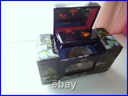Japan Hand Paint Chest Jewelry Make Up Organizer Lacquer Wooden Motion Music Box