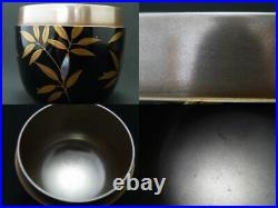 Japan Lacquer Wooden Tea caddy Bamboo with dew makie O-Natsume Inside Silver J15
