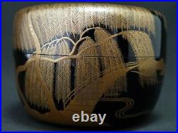 Japan Lacquer Wooden Tea caddy Bridge over the Willow Landscape makie Natsume709