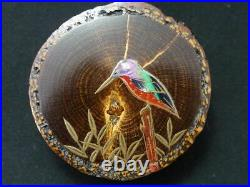 Japan Traditional Lacquer Wooden Kog Kingfisher makie with Mother-of pearl 305