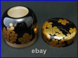 Japan WAJIMA Lacquer WOODEN Tea caddy GRAPE makie Natsume Medals of Honor 1012