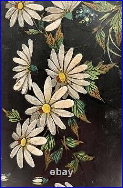 Japanese Hand Painted Lacquer Glovebox Butterfly Flowers and Foliage circa 1910