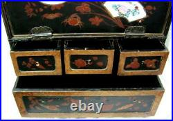 Japanese Lacquer Cabinet Box Early C20th Large 32cms tall Damages and Losses